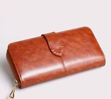 Women Wallets Brown Leather Clutch Zipper Wristlet Checkbook Organizer