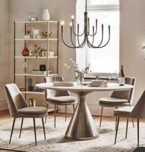 West Elm Large Round Marble and Brass Dining Table