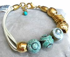 Handcrafted Artisan White Leather Bracelet Gold 24K Plated Turquoise Agate Beads