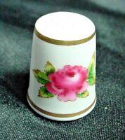 Royal Worcester Porcelain Thimble With Floral Decoration & Gold Edging