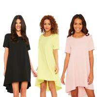 Womens Crepe Step Hem Shift Tee Short Sleeve Petite Ladies Top shop Party Dress