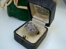 GORGEOUS VINTAGE WIDE SOLID STERLING SILVER MARCASITE RING BAND UNUSUAL SIZE N