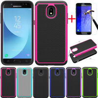 For Samsung Galaxy J7 Crown/J7 V 2018/Refine/Star Rugged TPU Case+Tempered Glass