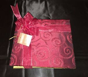 2 New Vtg Pier 1 Import Raw Silk Lk Fabric Photo Albums Maroon Gold