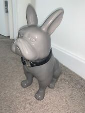 Grey French Bulldog Home Decor Ornament - Gloss Finish With FAUX Leather collar
