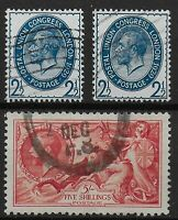 SG437-PUC 2&1/2d.(Two) + SG451-5s.Re-Engraved Seahorse. V.Good/FU.  Ref.07230