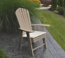 Outdoor Poly Upright Adirondack Chair - Weathered Wood - Made in Usa