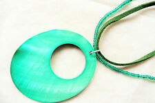 NECKLACE_LARGE EMERALD GREEN MOTHER OF PEARL OVAL PENDANT_GREEN SEED BEADS_NEW