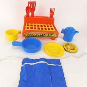 Vintage Playskool Cook & Serve Grill &  Kitchen Dish Set Toys