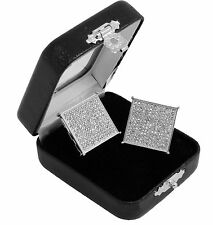Men's Si Hip Hop Iced Out XL Large Square Screen Block Screw Back Stud Earrings