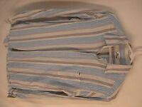 Lacoste Mens Blue Stripe Long Sleeve Cotton Shirt size 39 S