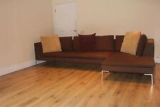 Contemporary designer B&B Italia Charles corner sofa suite in brown fabric