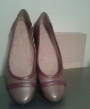 "NEW EASY SPIRIT ""PERCEPT"" BROWN/WINE PURPLE LEATHER FLATS SIZE 7N MSRP  $79"