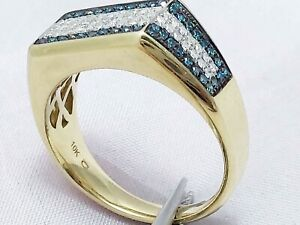 1.80Ct Genuine Natural Blue And White Diamond Men Ring In Solid 10K Yellow Gold