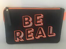New! Benefit Be Real Black Orange Makeup Bag Cosmetic Make Up 9 X 6