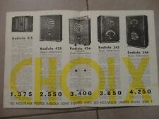 ancienne depliant radio recepteurs radiola