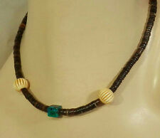 Cool looking Vintage 70's Turquoise Heishi Choker Necklace 237j7