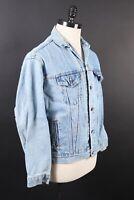 Vintage LEVI'S Denim Jean Trucker Coat Jacket USA Youth Size XL Mens Medium