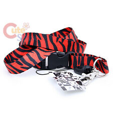 Red Zebra Lanyard Animal Print Key Chain  ID-Holder