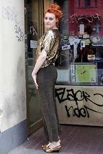 Femmes pantalon stretch pants Gold Golden Noir Black 70er true vintage 70s women