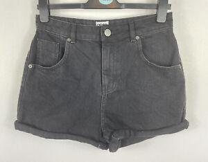 Bnwt Asos Denim schwarz hohe Taille-Mom Style Shorts, Größe 10-12