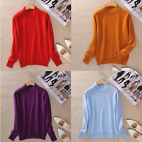 Women's Slim cozy Knitted Half-Turtleneck Cashmere Pullover Sweater wool Jumper