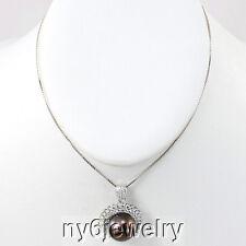 Sterling Silver Natural Tahitian Black Pearl/Swarovski Pendant Necklace 17''