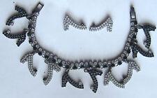 "DOROTHY BAUER Shoe 7"" charm bracelet & post earring Swarovski Austrian crystal"