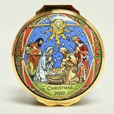 Halcyon Days 2000 Christmas Enamel Trinket Box Nativity Scene W/Coa