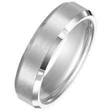 6mm 18K Solid White Gold Beveled Edge Design Comfort Fit Wedding Band Size 9