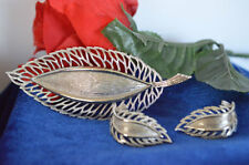 Sterling Silver LEAF BROOCH and PAIR OF CLIP EARRINGS SET  ships in 48 HOURS