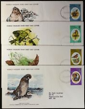 Z142 TRISTAN DE CUNHA 1979 WWF set of 4 FDC, Seals, Bird, Bunting, Thrush
