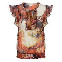 Anmol Rust Floral Print Flutter Sleeve Lightweight Chiffon Top BNWT