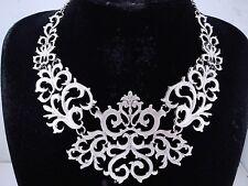 necklace silver rhodium p metal swirl bib antique vintage victorian style FIOJ