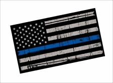 "Thin Blue Line / SINGLE / 4"" Vinyl REFLECTIVE Vehicle Police Support Decal Flag"