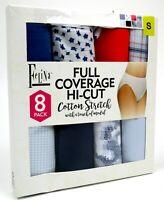 Felina Women's Full Coverage Hi-Cut Cotton Stretch Panties 8 Pack