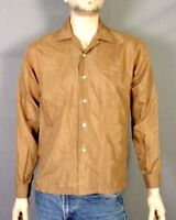 vtg 50s Halle Bros. Shiny Brown Sharkskin Rockabilly Shirt Loop Collar square M