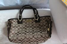 Coach Hand Bag, purse, tote Brass, leather & canvas Designer chic MINT condition