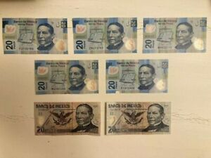 LOT OF 7 MODERN MEXICO 20 PESO CURRENCY / BANK NOTE / PAPER MONEY BILL