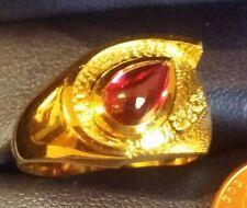 Vintage Original Retro Modern 14k Yellow Gold Ruby Diamond Men' Ring Size 10