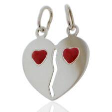 Ciondolo cuore divisibile mm 22x20 personalizzabile in argento 925 con cuori