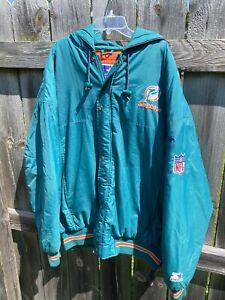 Vintage 80s Starter NFL Miami Dolphins Nylon Satin Bomber Jacket Aqua XL