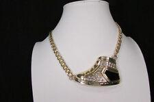 Women Necklace Fashion Gold Metal Chain Sneakers Shoe Pendant Bling Rhinestone