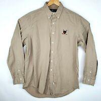 Ralph Lauren Mens Size Large Beige Button Down Golf Crest Long Sleeve Shirt