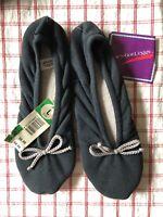 Vintage L'eggs Navy Blue Women's Slippers Leggs Leather Sole Size L 80's