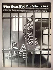 Sony Television PRINT AD - 1967 ~ jail prisoners watch gangsters on small TV