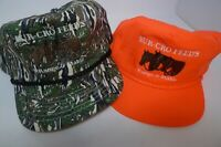 Lot 2 80s Embroidered BUR-CRO Feeds Farmers Snapback Hat Cap Florescent Camo