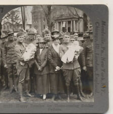 Happy Homecoming for Home Coming Soldier Fathers Keystone WWI Stereoview c1918