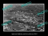 OLD 8x6 HISTORIC PHOTO INGLEWOOD CALIFORNIA TOWN AERIAL VIEW c1924 2
