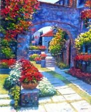 """HOWARD BEHRENS ART """"VIEW FROM THE VILLA"""" EMBELLISHED GICLEE ON CANVAS"""